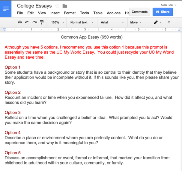 College entrance essay prompts doc